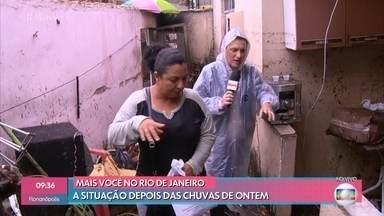 Moradores do Rio de Janeiro enfrentam problemas por conta das chuvas do fim de semana - Ana Maria mostra a força da água dentro dos Estúdios Globo, do lado de fora da Casa de Cristal