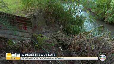 Erosão ameaça ponte na Vila Cauhy - Os moradores da região dizem que essa erosão começou há anos, mas com as chuvas dos últimos dias ela vem aumentando.