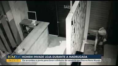 Ladrão invade loja no Novo Mundo - Ladrão invade loja e não leva nada. Em outro bairro de Curitiba polícia encontra carro pegando fogo com corpo dentro. Essas são as informações da madrugada, em Curitiba.