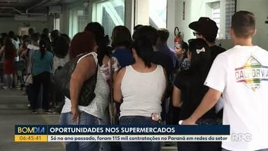 Aumenta contratações no setor de supermercados no Paraná - Só no ano passado, foram 115 mil contratações no Paraná em redes do setor.