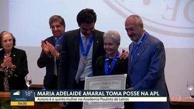 Escritora Maria Adelaide Amaral assume cadeira na Academia Paulista de Letras - Ela é uma das cinco mulheres entre os 40 membros da Casa.