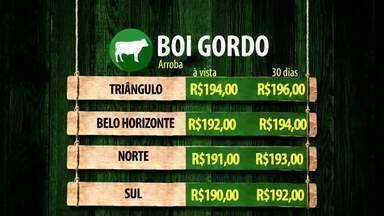 Confira a cotação do boi gordo nesta semana no Triângulo Mineiro - Acompanhe os preços em 30 dias, em Belo Horizonte e no Norte e Sul de Minas.