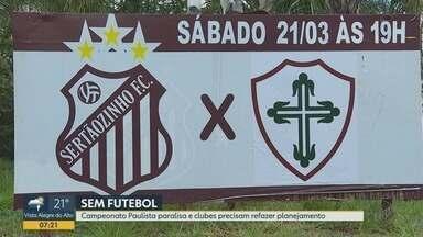 Federação Paulista de Futebol suspende as três divisões do estadual - Clubes da região de Ribeirão Preto precisam refazer planejamento e não sabem quando voltam às competições.