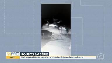 Casal é preso por roubar várias lojas em Belo Horizonte - Câmeras de segurança flagraram ação de bandidos em lojas da região do bairro Goiânia.