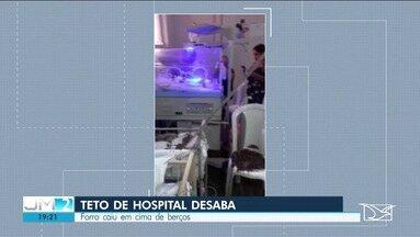 Parte do teto do Hospital da Criança desaba em São Luís - Hospital está em reforma para ampliação desde 2014.