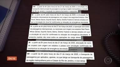 Governo do Rio suspende transporte intermunicipal e voos - As medidas assinadas pelo governador Wilson Witzel começa a valer a partir da zero hora de sábado (21), de acordo com o decreto fica suspenso o transporte intermunicipal de passageiros.