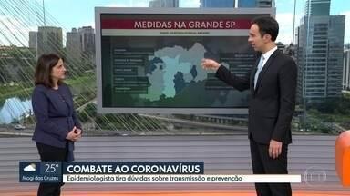 Epidemiologista tira dúvidas sobre transmissão e prevenção contra o coronavírus - A maior parte das cidades da Grande São Paulo determinou o fechamento de comércios não essenciais e a suspensão de aulas e qualquer atividade em grupo.