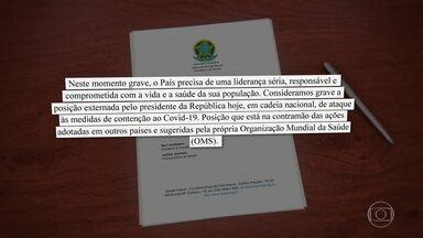 Sociedade civil e autoridades criticam pronunciamento de Bolsonaro - Presidentes da Câmara e do Senado, governadores, juristas e membros de associações de medicina criticaram a fala do presidente minimizando os impactos do coronavírus no Brasil.