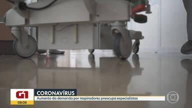 Coronavírus: Falta de respiradores preocupa especialistas no tratamento da Covid-19 - Atualmente existem 2.934 respiradores em uso no SUS em Minas Gerais, em instituições hospitalares, segundo o governo de Minas