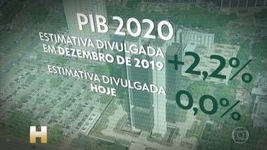 Banco Central zerou a expectativa de crescimento do PIB brasileiro para 2020 - Na semana passada, o ministério da Economia tinha reduzido a previsão de alta do PIB de 2,1% para 0,02%.