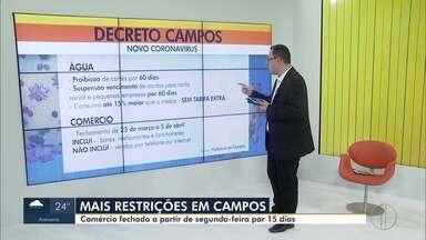 Comércio será fechado a partir de segunda em Campos - Assista a seguir.