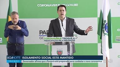 Governador afirma que Paraná está preparado para o combate ao novo coronavírus - Ratinho Junior disse durante entrevista coletiva que o isolamento social está mantido.
