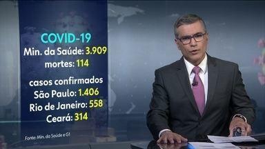 Brasil tem 114 mortes pelo coronavírus e mais de 3,9 mil casos - São Paulo continua sendo o estado mais atingido pela doença, com mais de 1, 4 mil casos.