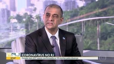 Secretário Estadual de Saúde fala sobre casos do novo coronavírus no Rio de Janeiro - O secretário estadual de Saúde, Edmar Santos, reforça a orientação para que as pessoas fiquem em casa.