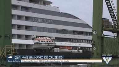 Navio com 128 tripulantes atraca no Porto de Santos - Scenic Eclipse atraca no Brasil após ter sido proibido de parar em portos da Argentina.