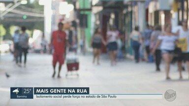 Isolamento social perde força no estado de São Paulo, diz pesquisa do governo - Ruas de Ribeirão Preto têm mais movimento, o que é reflexo do desrespeito à medida de prevenção ao novo coronavírus.