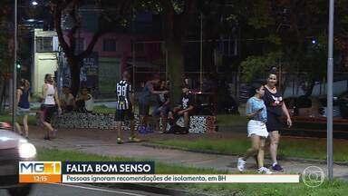 Pessoas ignoram recomendações de isolamento, em BH - Na avenida Bernardo Vasconcelos, na Região Nordeste, várias pessoas foram flagradas conversando e praticando atividades físicas sem manter distância de segurança.