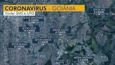 Estudo da UFG aponta que número de casos de coronavírus dobra a cada 5 dias em Goiás - Na ferramenta usada, é possível ver a situação de cada cidade e a divisão por bairros.