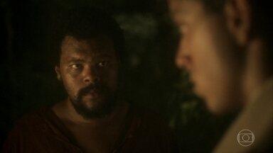 Jacinto percebe a falta de habilidade de Piatã na mata - O capataz de Sebastião aconselha Piatã a aprender a se virar para sobreviver
