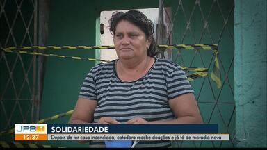 Mulher recebe doações após ter casa destruída por incêndio - Exemplo de solidariedade.