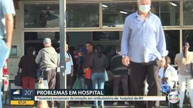 Pacientes reclamam de lotação em ambulatório de hospital de BH - Ambulatório do hospital Luxemburgo, que fica na região Centro-Sul da cidade ficou lotado ontem.