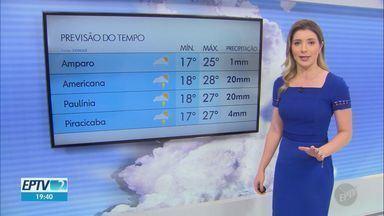 Região de Campinas pode ter pancadas de chuva nesta quarta-feira (15); veja previsão - Em Piracicaba (SP), mínima é de 17ºC e máxima de 27ºC.