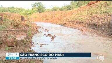 Açude transborda em São Francisco do Piauí e alaga casas - Açude transborda em São Francisco do Piauí e alaga casas