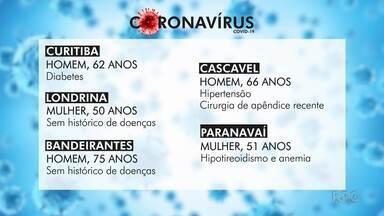 Paraná confirma mais cinco mortes por coronavírus - Casos da doença no estado chegam a 960.