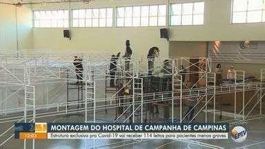 Hospital de campanha de Campinas receberá 114 leitos para pacientes com coronavírus - Estrutura está sendo montada na sede dos Patrulheiros, no Parque Itália, para pacientes menos graves.
