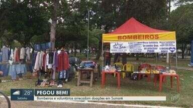 Bombeiros e voluntários arrecadam alimentos e produtos de limpeza em Sumaré - Quadro 'Pegou Bem' mostra iniciativas na região de Campinas durante pandemia do coronavírus.