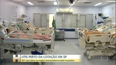 Coronavírus: 80% dos leitos de UTI na Região Metropolitana de SP estão ocupados - Oito em cada dez leitos de unidade de terapia intensiva na Região Metropolitana de São Paulo estão ocupados. A lotação preocupa porque não são só os pacientes com Covid-19 que precisam de cuidados intensivos.