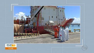 Barco onde tripulantes for diagnosticados com Covid-19 é monitorado - Barco onde tripulantes for diagnosticados com Covid-19 é monitorado.