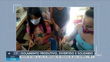 Família de Itajaí produz máscaras de pano e comercializa por valor simbólico - Família de Itajaí produz máscaras de pano e comercializa por valor simbólico