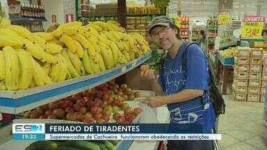 Supermercados de Cachoeiro, ES, funcionam no feriado de Tiradentes - Movimento não foi grande.