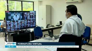 Acadêmicos da Ufam colam grau por meio de videoconferência - Estudantes de medicina têm formatura antecipada para ajudar no combate à pandemia