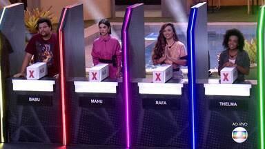 Programa de 23/04/2020 - Babu, Manu, Rafa e Thelma disputam a última prova do BBB20 para conquistar uma vaga na Final da edição histórica do reality show