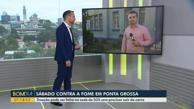 Campanha contra a fome arrecada doações em Ponta Grossa - Doação pode ser feita na sede do SOS sem precisar sair do carro.
