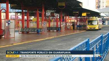 Uso de máscaras se torna exigência dentro dos ônibus em Guarapuava - Máscaras foram entregues para quem não tem condições de comprar.