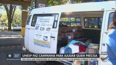 Unesp de Rio Claro recebe doações de alimentos, produtos de higiene e agasalhos - Campanha de arrecadação ocorre neste sábado (25) na entrada do campus.