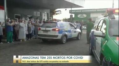 Amazonas tem 96% dos leitos de UTI ocupados - O estado confirmou mais de 21 mortes por Covid-19. No total, o estado contabiliza 255 mortos e quase 3.200 casos da doença. As autoridades de saúde afirmam que a situação deve piorar nas próximas duas semanas.