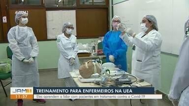 UEA realiza treinamentos com enfermeiros para enfrentamento da Covid-19 - Eles aprendem a lidar com pacientes contaminados.
