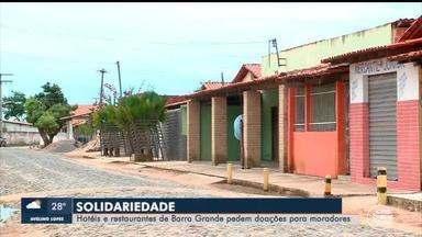 Hotéis e restaurantes de Barra Grande fazem campanha e pedem doações para moradores - Hotéis e restaurantes de Barra Grande fazem campanha e pedem doações para moradores