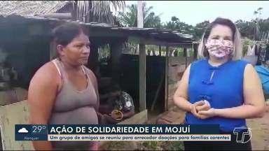 Grupo de amigos se une em ação solidária para ajudar famílias carentes em Mojuí dos Campos - Alimentos são arrecadados e doados às famílias.