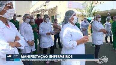 Enfermeiros fazem manifestação e denunciam problemas no HUT - Enfermeiros fazem manifestação e denunciam problemas no HUT