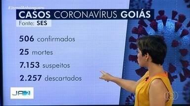Goiás passa a ter 506 registros de coronavírus e 25 mortes - Governo de Goiás informou ainda que há 7.153 pessoas sob investigação do novo vírus.