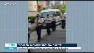 Banda da Guarda Municipal de Belém percorre ruas da cidade levando música para a população - Banda da Guarda Municipal de Belém percorre ruas da cidade levando música para a população