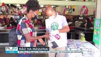 Em Nova Friburgo e Bom Jardim, máscaras são trocadas por alimentos - Ação visa beneficiar moradores dos dois municípios da Região Serrana, que precisam de ajuda.