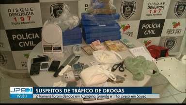 Suspeitos de tráfico de drogas são presos na Paraíba - 2 homens foram detidos em Campina Grande e 1 foi preso em Sousa.