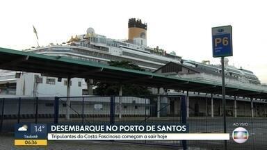 Tripulantes começam a desembarcar em Santos - Depois de várias semanas embarcados, tripulantes do navio Costa Fascinosa começam a desembarcar.