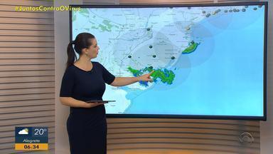 Metade Norte do RS tem tempo aberto e calor nesta terça-feira (28) - Faixa Sul tem tempo instável e pode ter chuva forte nesta manhã.